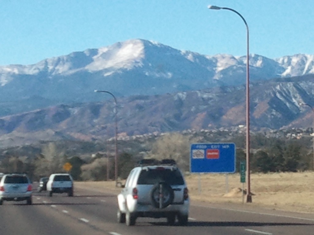 View of Pikes Peak from I-25