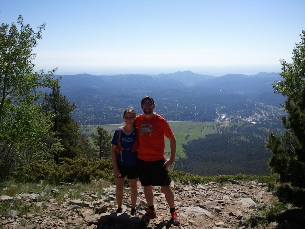 JD & I, smiling bigger at the break in the run than the view